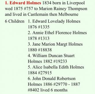 Edward Lovelady Holmes Family