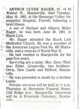 Arthur C Rager Obituary