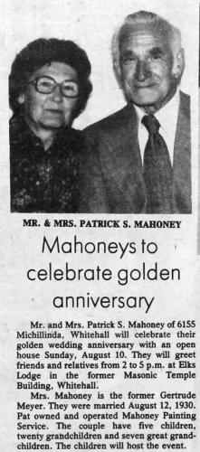 Patrick and Gertrude (Meyer) Mahoney
