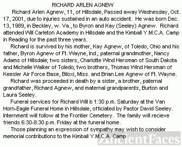 Richard Arlen Agnew's obituary