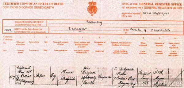Birth Certificate: Arthur Dalgleish
