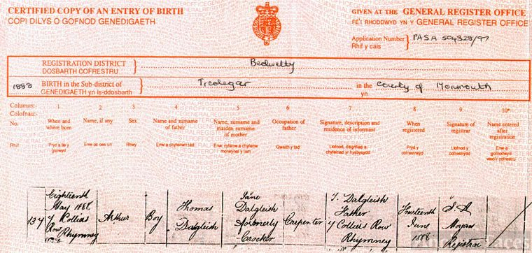 Birth Certificate: Arthur Dalgleish