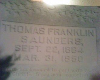 Gravestone of Thomas Franklin Saunders