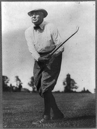 [Warren G. Harding, full length, facing left, swinging...