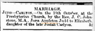 John Appleton Judd Marriage announcement