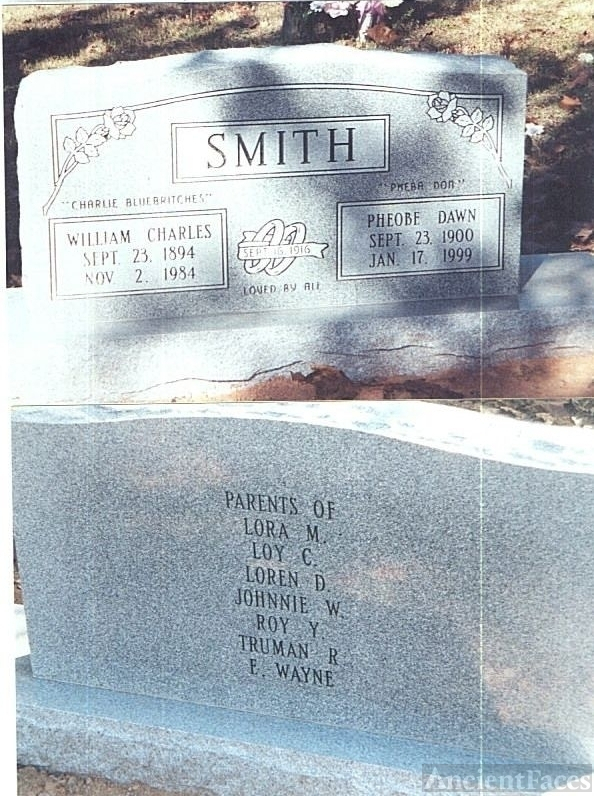 Tombstone of Charlie & Pheobe Dawn Silvis Smith