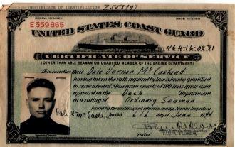 Dale Vernon McCasland USCG ID