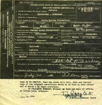 Zella Myrtle Richardson Birth Certificate 1894, AR