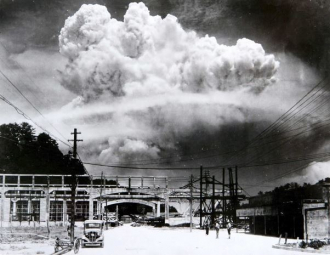 Atomic cloud over  Nagasaki 1945