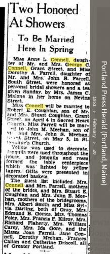 Louise Marie Hagen-Connell--Portland Press Herald (Portland, Maine) (20 feb 1951)