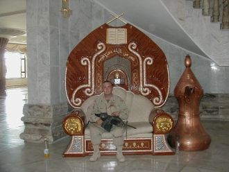 TJ on Saddam's throne