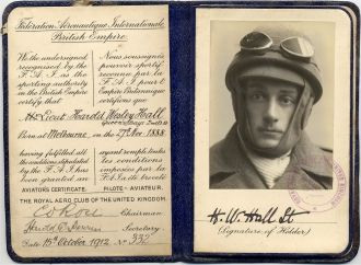 Harold Wesley Hall aviator certificate