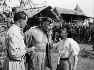 Denis O'Dea with Clark Gable and Ava Gardner in MOGAMBO