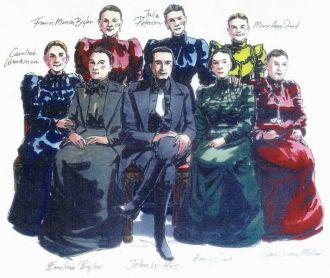 Drawing of John W. Hess & wives