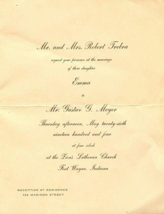 Meyer-Trebra wedding invitation 1904