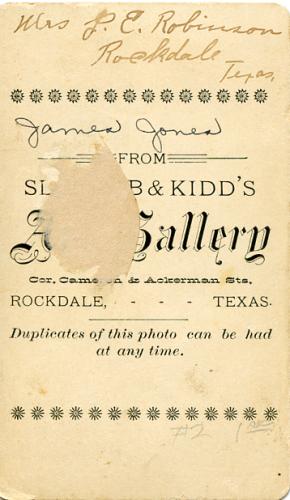 Back of James Alexander Jones photo