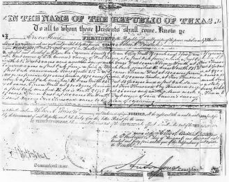 Land Grant from the Republic of Texas