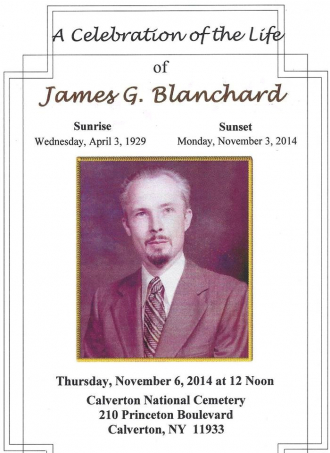 James Grinnell Blanchard Memorial Program