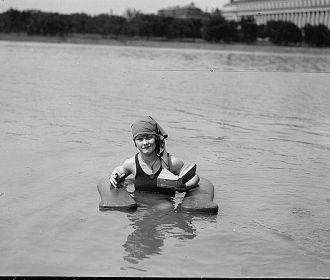 Muriel Quackenbush in surf chair at Wash. Bathing Beach....