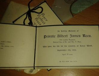 Albert James Rees funeral card