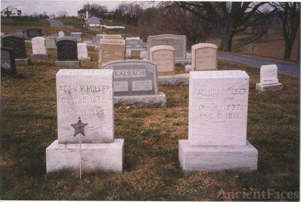 Headstones of Adam Miller & wife Amanda Klopp