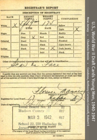Charles J Connell--U.S., World War II Draft Cards Young Men, 1940-1947(16 feb 1942)back