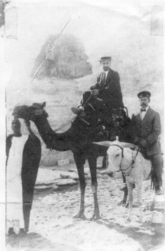Haiman Kopelman on a Camel in front of the Sphynx