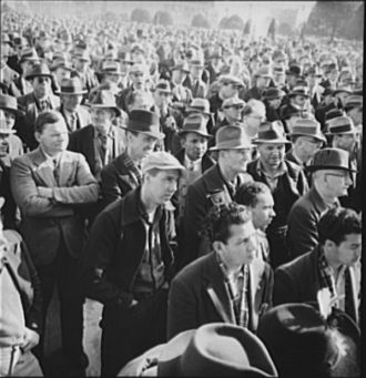 Crowd at a WPA Workers Speech