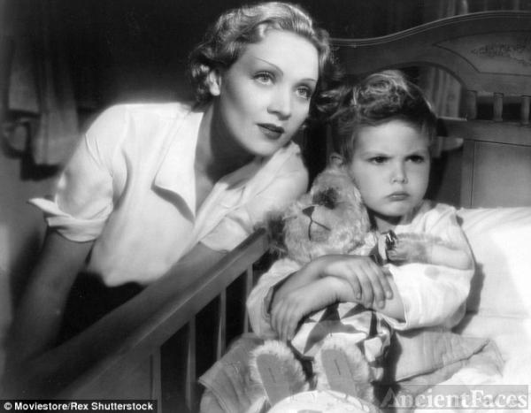 Dickie Moore and Marlene Dietrich