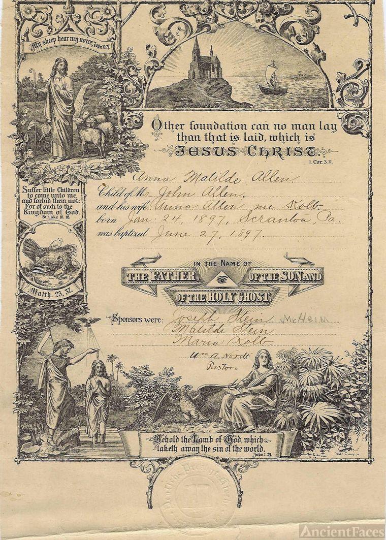 Anna Allen Engel Baptismal certificate