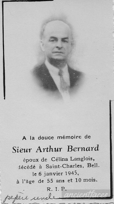 Arthur Bernard Funeral Card