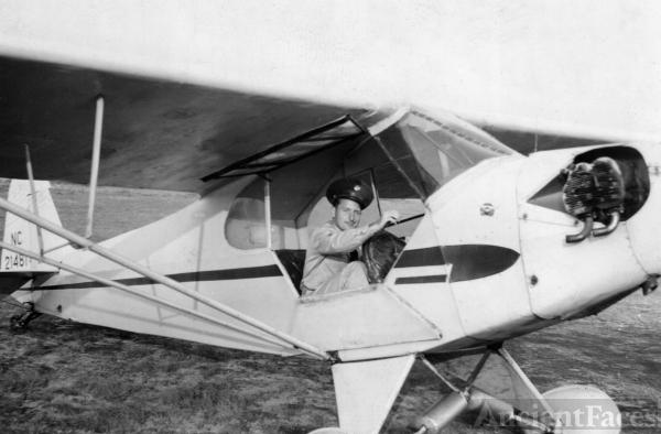 D.W. Sparks & His Piper Cub Airplane