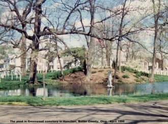 Greenwood Cemetery pond in Hamilton, Ohio, 1995