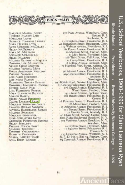 Claire Laurena Ryan-Beecher--U.S., School Yearbooks, 1900-1999(1926)