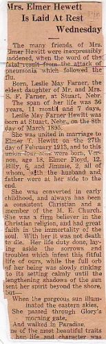LESLIE MAE FARNER HEWITT 1932 OBITUARY