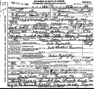 Frank Turnbull Death Certificate