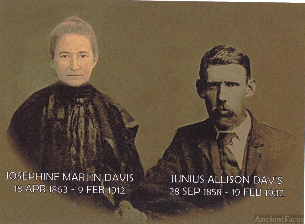 Josephine Martin Davis, Junius A. Davis