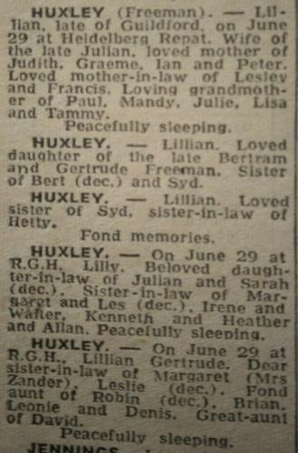 Lillian Gertrude Huxley Obituary