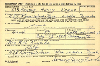 World War II Draft Registration Card 1942 - Armand Henry Kunde