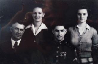 Solomon Jay McKinley Riley, Adeline Riley, Jay Solon Riley and Burle Bennett Riley 1945