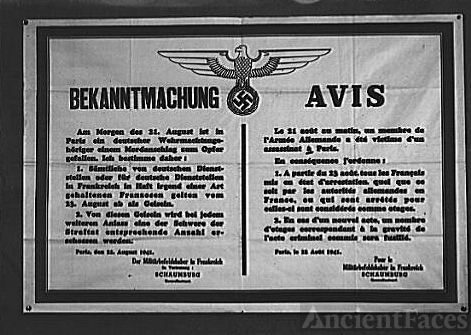 German warning to occupied France. Here, in the Nazis'...