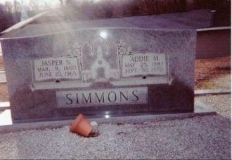 Gravesite of Jasper Newton & Addie Maxwell Simmons