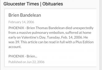 Brien T Bandelean obituary