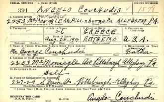 Angelo Couchudis WWII Draft Card