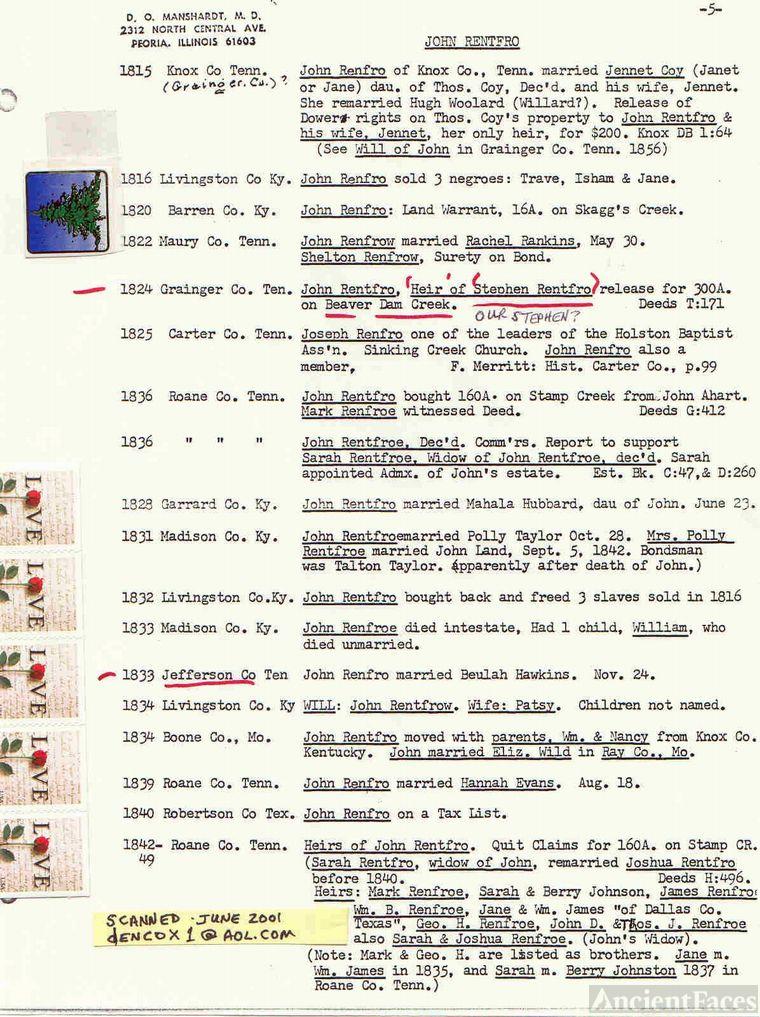 John Renfro records (6-10) - D. O. Manschardt, MD