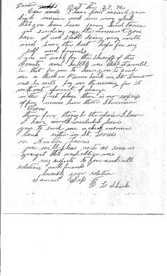 Letter from Sam Bass in Denton, TX to His Uncle, David L. Sheeks in Mitchell, IN, Oct 27, 1872