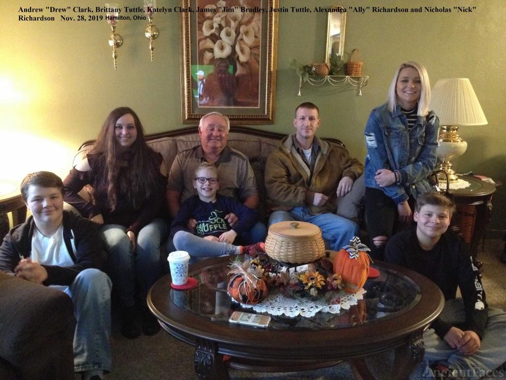 Jim Bradley with grandchildren, 2019