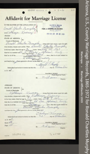 Ronald Charles Murphy Jr.--Arizona, U.S., County Marriage Records, 1865-1972(1959)