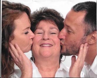 2013 Kristine Elizabeth Smith Teshima and Brien Edward Smith kissing Mother (me) Michelle Elizabeth Johnson Smith