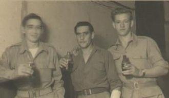 Three Army Buddies enjoying a beer
